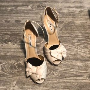 Nina Electra heels in Ivory Luster satin